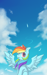 Size: 1580x2500 | Tagged: safe, alternate version, artist:snowsky-s, rainbow dash, pegasus, pony, cloud, female, mare, open mouth, sitting, sky, solo, spread wings, wings