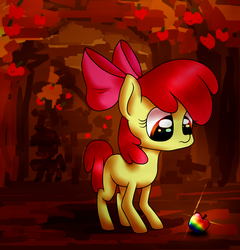 Size: 1131x1177 | Tagged: safe, artist:juisedrop, apple bloom, earth pony, pony, apple, apple tree, eye reflection, female, food, looking at something, reflection, solo, tree, zap apple