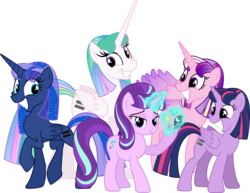 Size: 3880x3000 | Tagged: dead source, safe, artist:theshadowstone, princess cadance, princess celestia, princess luna, starlight glimmer, twilight sparkle, alicorn, pony, the cutie map, alicorn tetrarchy, alternate hairstyle, bad end, cute, equal cutie mark, equalized, equestria is doomed, female, grin, mare, my little pony, s5 starlight, simple background, smiling, song in the comments, squee, the bad guy wins, this will end in communism, transparent background, twilight sparkle (alicorn), uh oh, vector, xk-class end-of-the-world scenario