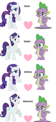 Size: 3160x6828 | Tagged: safe, rarity, spike, and then barb was a lesbian, and then spike was gay, bararity, barb, barity, barlusive, elusive, female, gay, half r63 shipping, lesbian, male, rule 63, shipping, sparity, spelusive, straight