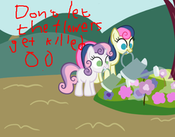 Size: 490x385 | Tagged: safe, bon bon, sweetie belle, sweetie drops, earth pony, pony, robot, robot pony, unicorn, advice, blank flank, female, filly, flower, foal, hooves, horn, mare, sweetie bot, teeth, watering can