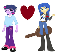 Size: 1762x1409 | Tagged: safe, artist:t-mack56, flash sentry, twilight sparkle, equestria girls, dusk shine, duskflare, equestria guys, female, flare warden, flashlight, male, rule 63, shipping, straight