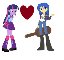 Size: 1762x1639 | Tagged: safe, artist:jaquelindreamz, artist:sketchmcreations, artist:t-mack56, flash sentry, twilight sparkle, equestria girls, equestria guys, female, flare warden, flashlight, half r63 shipping, lesbian, rule 63, shipping, twiwarden