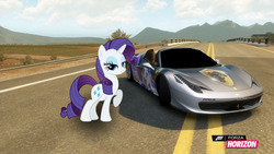 Size: 1280x720   Tagged: safe, artist:equestianracer, rarity, pony, car, female, ferrari, ferrarity, forza horizon, highway, itasha, solo