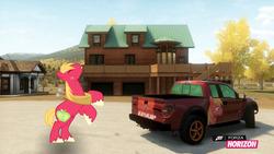 Size: 1280x720   Tagged: safe, artist:equestianracer, big macintosh, earth pony, pony, car, ford, ford f-150, ford f-150 svt raptor, forza horizon, itasha, male, solo, stallion, truck