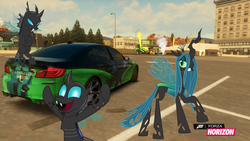 Size: 1280x720   Tagged: safe, artist:equestianracer, doomie, queen chrysalis, changeling, bmw, bmw 5-series, bmw f10, bmw m5, car, forza horizon, group, itasha, parking lot