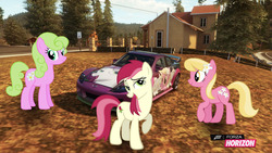 Size: 1280x720   Tagged: safe, artist:equestianracer, daisy, flower wishes, lily, lily valley, roseluck, pony, car, forza horizon, group, itasha, mazda, mazda rx8, trio