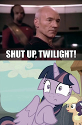 Size: 640x976 | Tagged: applejack, captain picard, caption, equalized, floppy ears, human, image macro, irl, irl human, jean-luc picard, meme, michael dorn, patrick stewart, photo, rarity, safe, screencap, shut up twilight, star trek, star trek: the next generation, the cutie map, twilight sparkle, twilight sparkle (alicorn), worf
