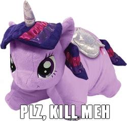 Size: 302x288 | Tagged: safe, twilight sparkle, alicorn, pony, aurora, female, image macro, irl, kill me, mare, meme, photo, pillow pet, plushie, twilight sparkle (alicorn)