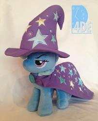 Size: 591x732 | Tagged: safe, trixie, pony, unicorn, 4de, cape, clothes, hat, irl, lidded eyes, photo, plushie, solo, trixie's cape, trixie's hat