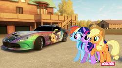 Size: 1024x576   Tagged: safe, artist:equestianracer, applejack, rainbow dash, twilight sparkle, pony, car, dodge (car), dodge viper, forza horizon, group, itasha, srt viper, trio