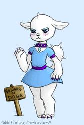 Size: 369x552 | Tagged: safe, artist:bunnycat, rarity, diamond dog, angry, blushing, clothes, collar, commission, cute, diamond dogified, diamonds, doge, dress, female diamond dog, grumpy, raridog, skirt, species swap
