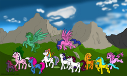 Size: 1920x1152 | Tagged: safe, artist:lelunae, applejack (g1), bowtie (g1), bubbles (g1), cotton candy (g1), ember (g1), firefly, first born, glory, medley, moondancer (g1), twilight, twinkles, g1, rescue at midnight castle, everypony, mountain, scenery