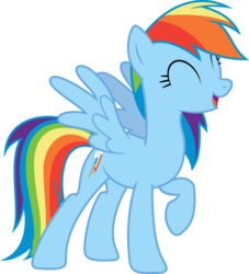 Size: 7474x8249 | Tagged: safe, artist:djdavid98, artist:embersatdawn, rainbow dash, pegasus, pony, castle sweet castle, .ai available, absurd resolution, cute, dashabetes, eyes closed, female, happy, mare, open mouth, raised hoof, simple background, singing, smiling, solo, spread wings, transparent background, vector