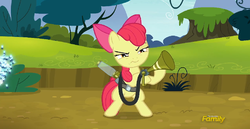 Size: 777x402 | Tagged: safe, screencap, apple bloom, twittermite, bloom and gloom, game face, twitbuster apple bloom
