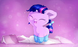 Size: 1648x1000   Tagged: safe, artist:sverre93, twilight sparkle, pony, unicorn, book, clothes, cute, eyes closed, female, filly, filly twilight sparkle, hair bow, happy, hnnng, open mouth, small horn, smiling, socks, solo, sverre is trying to murder us, twiabetes, unicorn twilight, weapons-grade cute