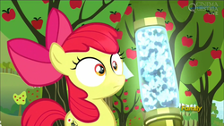 Size: 1920x1080 | Tagged: safe, screencap, apple bloom, earth pony, pony, twittermite, bloom and gloom, apple tree, female, filly, pest control gear, solo, tree, wide eyes