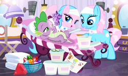 Size: 1400x842 | Tagged: aloe, artist:pixelkitties, bedroom eyes, female, gem, lotus blossom, male, mirror, pampering, safe, shipping, spa twins, spike, spike gets all the mares, spikelove, sploe, splotus, straight, towel