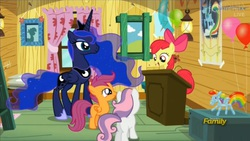 Size: 1073x605   Tagged: safe, screencap, apple bloom, princess luna, scootaloo, sweetie belle, bloom and gloom, balloon, balloon rainbow dash, clubhouse, crusaders clubhouse, cutie mark crusaders, dream walker luna, rainbow dash poster