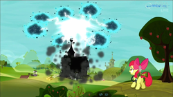 Size: 1920x1080 | Tagged: safe, screencap, apple bloom, earth pony, pony, twittermite, bloom and gloom, apple tree, barn, female, filly, foal, lightning, pest control gear, sweet apple acres, tree, twitbuster apple bloom