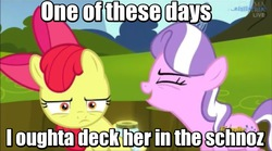 Size: 800x444 | Tagged: safe, edit, edited screencap, screencap, apple bloom, diamond tiara, earth pony, pony, twittermite, bloom and gloom, contemplating, dragonball z abridged, duo, female, filly, foal, image macro, meme