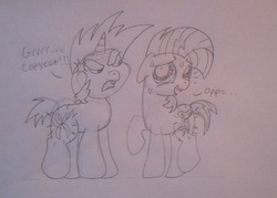 Size: 2140x1534   Tagged: safe, babs seed, snips, bloom and gloom, angry, annoyed, copycat, cutie mark, scissors, sweat, this will end in tears, traditional art, worried