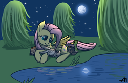 Size: 1024x664 | Tagged: safe, artist:bananimationofficial, fluttershy, duck, mallard, pegasus, pony, rabbit, cute, female, full moon, lake, male, mare, moon, night, peaceful, sleeping, stars, tree