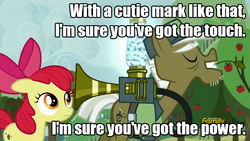 Size: 960x540 | Tagged: safe, edit, edited screencap, screencap, apple bloom, max raid, earth pony, pony, bloom and gloom, cropped, cutie mark, duo, female, filly, foal, image macro, male, meme, pest control gear, pest control pony, pest pony, stallion, stan bush, the touch