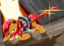 Size: 1232x880 | Tagged: safe, artist:frist44, babs seed, pony, bloom and gloom, antagonist, clothes, crossover, cutie mark, female, hilarious in hindsight in the comments, kill la kill, mouth hold, obari pose, ryuko matoi, scissor blade, scissors, solo, that was fast