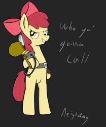 Size: 1077x1289 | Tagged: safe, artist:neighday, apple bloom, pony, bloom and gloom, bipedal, ghostbusters, pest control gear, pest pony, standing, twitbuster apple bloom