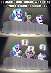 Size: 1500x2141 | Tagged: safe, edit, edited screencap, hundreds of users filter this tag, screencap, dj pon-3, octavia melody, rarity, spike, vinyl scratch, bloom and gloom, card, female, implied shipping, judges, love triangle, male, meme, music judges meme, shipping, sparity, spike gets all the mares, spiketavia, straight, table, vinylspike