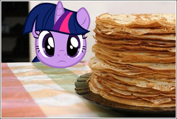 Size: 1200x806 | Tagged: safe, artist:dtkraus, twilight sparkle, alicorn, pony, castle sweet castle, behaving like a cat, crepe, eyes on the prize, female, frown, i'm pancake, irl, mare, pancakes, photo, ponies in real life, solo, twilight cat, twilight sparkle (alicorn)