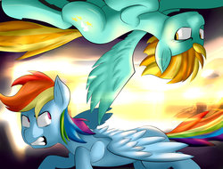 Size: 1600x1218 | Tagged: artist:sourspot, flying, lightning dust, looking at each other, rainbow dash, safe, sun