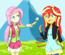 Size: 1360x1153 | Tagged: safe, artist:jumboz95, fluttershy, sunset shimmer, equestria girls, friendship through the ages, drool, female, flower, folk fluttershy, homesick shimmer, humans doing horse things, hungry, lesbian, shipping, sunset wants her old digestive system back, sunshyne