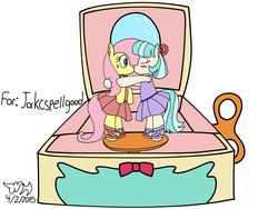 Size: 3200x2400 | Tagged: safe, artist:xwoofyhoundx, coco pommel, fluttershy, ballerina, balletshy, blushing, cocoshy, female, kissing, lesbian, music box, shipping, wind up key
