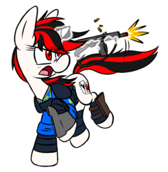 Size: 1419x1446   Tagged: safe, artist:raeligath, oc, oc only, oc:blackjack, pony, unicorn, fallout equestria, fallout equestria: project horizons, armor, clothes, fallout, fanfic, fanfic art, female, glowing horn, gun, hooves, horn, levitation, magic, mare, open mouth, pipbuck, security armor, shooting, shotgun, simple background, solo, telekinesis, transparent background, vault security armor, vault suit, weapon