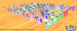 Size: 2086x852 | Tagged: safe, artist:creatorofpony, amethyst star, apple bumpkin, berry dreams, berry punch, berryshine, blueberry punch, bon bon, carrot top, cherry berry, chocolate blueberry, cloud kicker, daisy, diamond mint, dizzy twister, dusky grape, electric blue, flower wishes, frosty dew, golden harvest, green jewel, honey rays, lemon hearts, lightning bolt, lilac links, linky, lyra heartstrings, merry may, mjölna, orange box, orange swirl, parasol, peppermint crunch, rainbowshine, roseluck, sassaflash, shoeshine, silverspeed, ski doo, sparkler, spring melody, sprinkle medley, starsong, sugar apple, sunny rays, sunshower raindrops, sweetie drops, tiger lily, tropical spring, tropical storm, white lightning, winter withers, earth pony, pegasus, pony, unicorn, 3d, 3d model, apple family member, background pony, female, mare, ponykart, unnamed pony