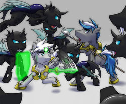 Size: 864x720 | Tagged: safe, artist:tarenest, oc, oc only, oc:zephyr wing, changeling, sword