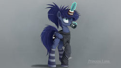 Size: 3000x1688 | Tagged: safe, artist:ncmares, princess luna, alicorn, pony, ask majesty incarnate, alternate hairstyle, clothes, coffee, donut, female, horn, horn impalement, magic, mare, one eye closed, ponytail, socks, solo, striped socks, telekinesis, text, the uses of unicorn horns