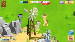 Size: 1280x720 | Tagged: safe, screencap, caramel, colter sobchak, crescent pony, mane moon, cute, gameloft, night guard, ponyville