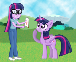 Size: 1598x1302 | Tagged: safe, artist:majkashinoda626, sci-twi, twilight sparkle, alicorn, pony, equestria girls, rainbow rocks, clipboard, female, human ponidox, mare, pencil, self ponidox, square crossover, twilight sparkle (alicorn), twolight