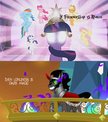 Size: 1280x1440 | Tagged: safe, edit, edited screencap, screencap, applejack, fluttershy, king sombra, pinkie pie, rainbow dash, rarity, twilight sparkle, friendship is magic, the crystal empire, dark magic, elements of harmony, friendship, headcanon, lonely, magic, mane six, the elements in action, theory