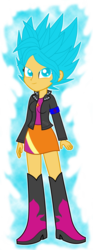 Size: 934x2500 | Tagged: safe, artist:gonzalossj3, sunset shimmer, equestria girls, crossover, dragon ball z, dragon ball z: resurrection of f, super saiyan blue, super saiyan god super saiyan