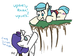 Size: 821x625 | Tagged: alternate universe, artist:jargon scott, bandana, bard, cocoa cantle, coco pommel, cute, dialogue, eyepatch, jumping, ledge, rarity, rule 63, safe, sword rara, upsies