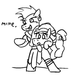 Size: 486x513 | Tagged: safe, artist:jargon scott, bulk biceps, coco pommel, alternate universe, bandana, barbarian, bard, buffy biceps, carrying, cocoa cantle, earring, loincloth, monochrome, piercing, rule 63, sword rara