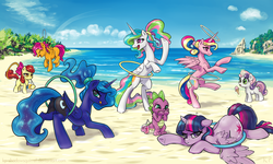 Size: 2000x1200 | Tagged: adorabloom, alicorn, alicorn tetrarchy, alternate hairstyle, annoyed, apple bloom, artist:kp-shadowsquirrel, balancing, beach, bipedal, coach, cute, cutealoo, cutedance, cutelestia, cutie mark crusaders, diasweetes, dragon, drink, earth pony, eyes closed, face down ass up, featureless crotch, female, filly, floppy ears, fluffy, flying, foal, frown, glare, grumpy, hoof hold, ice cream, laughing, leg fluff, levitation, licking lips, lidded eyes, looking at someone, looking at something, looking back, loop-de-hoop, lunabetes, magic, mare, messy mane, missing accessory, moonbutt, :o, open mouth, pegasus, plot, pony, ponytail, prehensile tail, princess cadance, princess celestia, princess luna, prone, :q, raised hoof, raised leg, rearing, royal sisters, safe, scootaloo, scootaloo can fly, shoulder fluff, smiling, smirk, spikabetes, spike, spread wings, straw, stuck, sweat, sweatdrop, sweet dreams fuel, sweetie belle, tail hold, telekinesis, tongue out, twiabetes, twilight is not amused, twilight sparkle, twilight sparkle (alicorn), unamused, underhoof, unicorn, whistle, wing fluff, wings