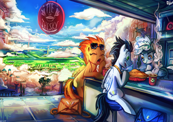 Size: 1329x940 | Tagged: safe, artist:jowybean, soarin', spitfire, pegasus, pony, backwards cutie mark, bag, building, city, cloud, cloudsdale, coffee, drink, eyes closed, female, food, glasses, male, mare, open mouth, pie, restaurant, scenery, scenery porn, sky, sleepy, smiling, stallion, that pony sure does love pies, tree, yawn