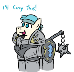 Size: 500x481 | Tagged: safe, artist:jargon scott, coco pommel, alternate universe, armor, bandana, bard, cocoa cantle, dialogue, flail, rule 63, solo, sword rara, weapon