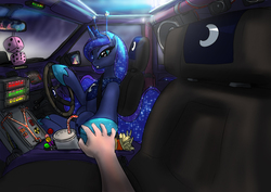 Size: 1200x849 | Tagged: safe, artist:foxi-5, princess luna, human, pony, antennae, back to the future, car, driving, flux capacitor, fuzzy dice, glare, gritted teeth, hand, holding hands, holding hooves, human on pony hoof holding, looking at you, sitting