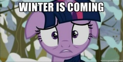 Size: 500x251 | Tagged: alicorn, brace yourselves, floppy ears, game of thrones, larson you magnificent bastard, meme, safe, screencap, snow, solo, tanks for the memories, thanks m.a. larson, tree, twilight sparkle, twilight sparkle (alicorn), twilight starkle, winter is coming